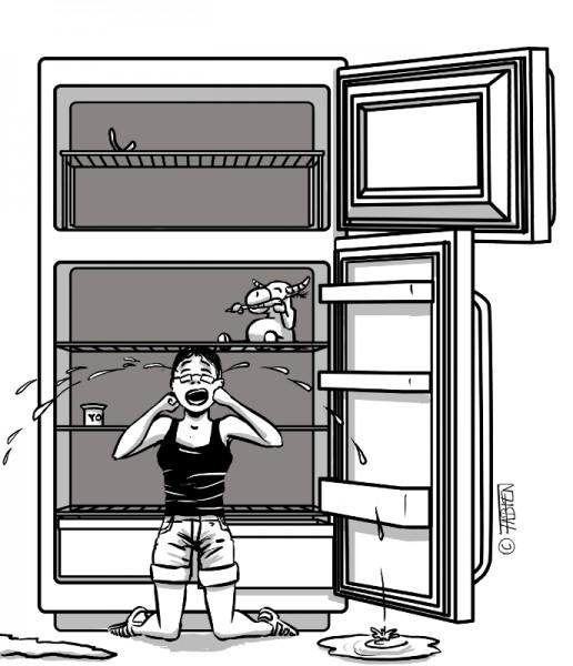 Sofsof pleure devant son frigo vide