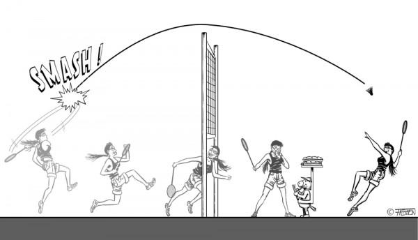 Sofsof passe sous le filet de badminton