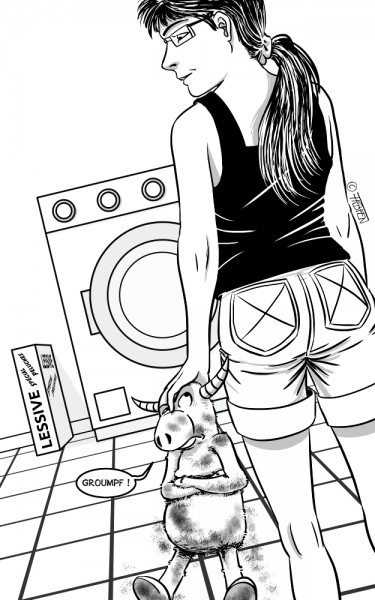 Biquette va passer à la machine à laver